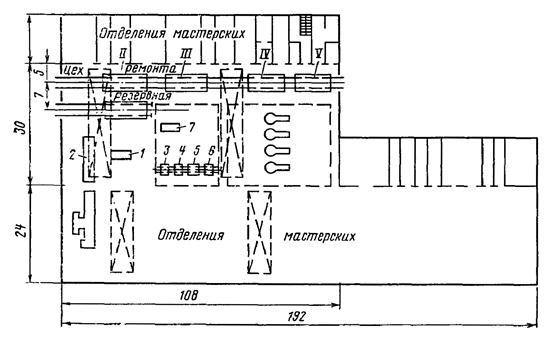 Схема цехов локомотивного депо